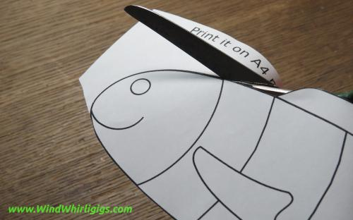 How to make a garden decor Red Striped Fish whirligig. Cutting printed PDF template.