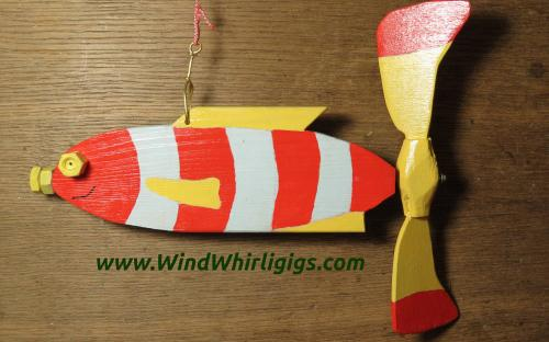 How to make a garden decor Red Striped Fish whirligig. Left side view