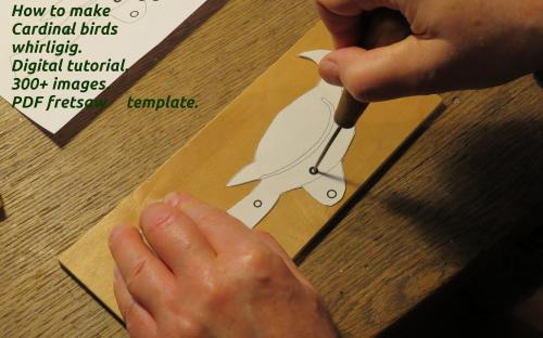How to make Cardinal birds whirligig. Making bird figurines from a printout template.