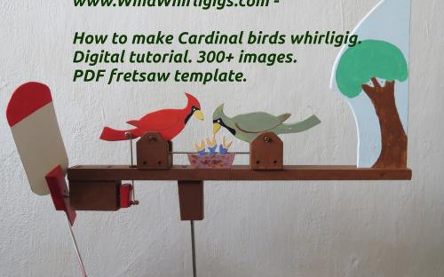 How to make Cardinal birds whirligig. General view of a weather vane with a propeller and a tail.