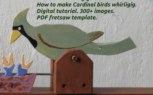 How to make Cardinal birds whirligig. Female at the nest. Close-up view.