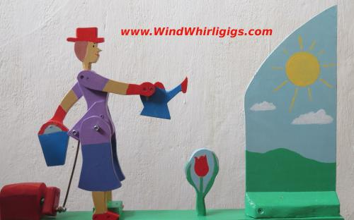 Flower Watering Wind-driven wooden Whirligig