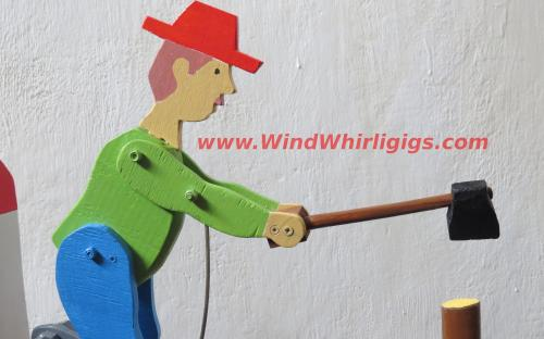 Woodchopper man wooden whirligig