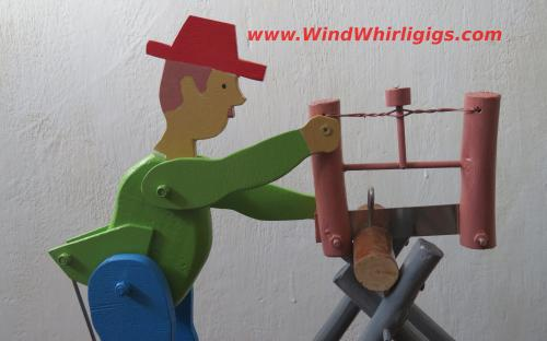 Wood Sawyer Handmade Whirligig - portrait