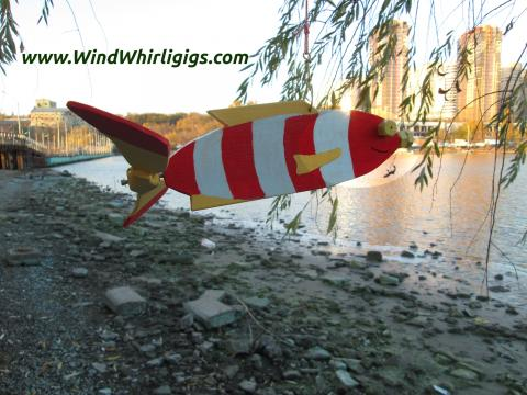 """How to make a garden decor """"Hanging whirligig Red Striped Fish with spinning tail"""". Photo tutorial 100+ images.."""