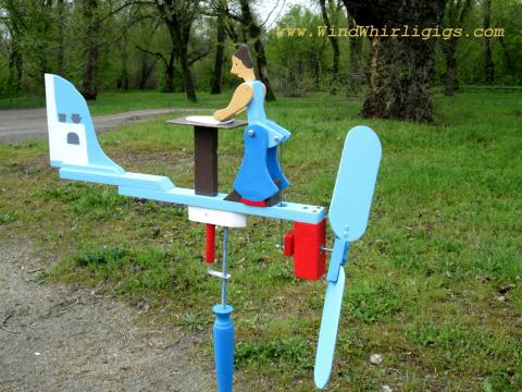 "Wind-driven wooden whirligig ""Cook"" or ""Baking a Pie"" or ""Rolling out a Pie"" whirligig"