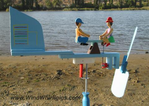 """Wind-driven wooden Whirligig """"Seesaw"""""""