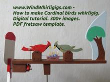 How to make Cardinal birds whirligig. Digital tutorial. 300+ images. Printable PDF template