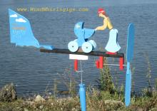 """Wind-driven wooden whirligig """"Young woman with a baby stroller"""""""