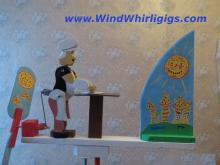 """Wind-driven wooden whirligig """"Rolling out a Pizza"""""""