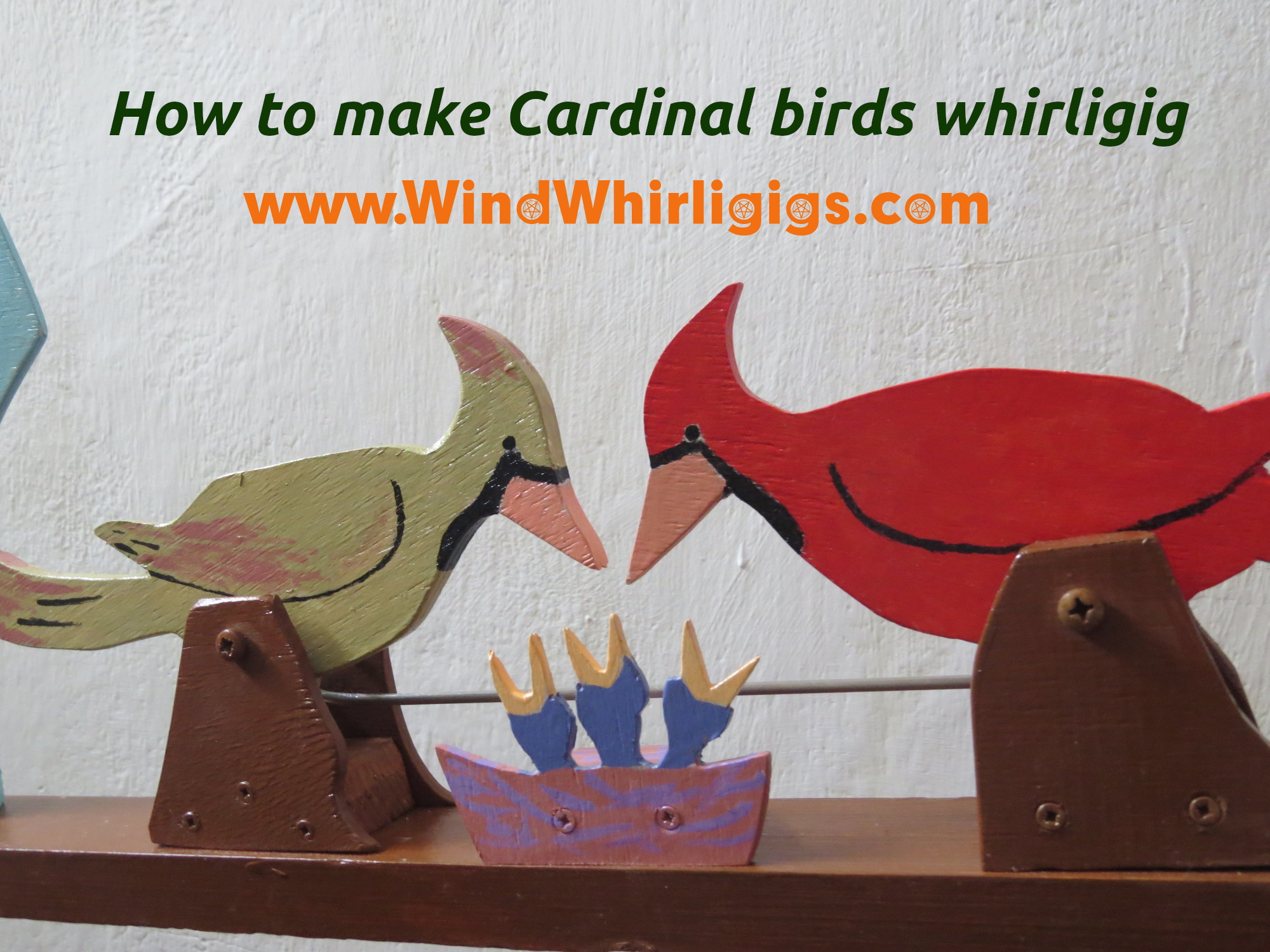 How to make Cardinal birds whirligig. Digital tutorial. 300+ images.Printable PDF template.