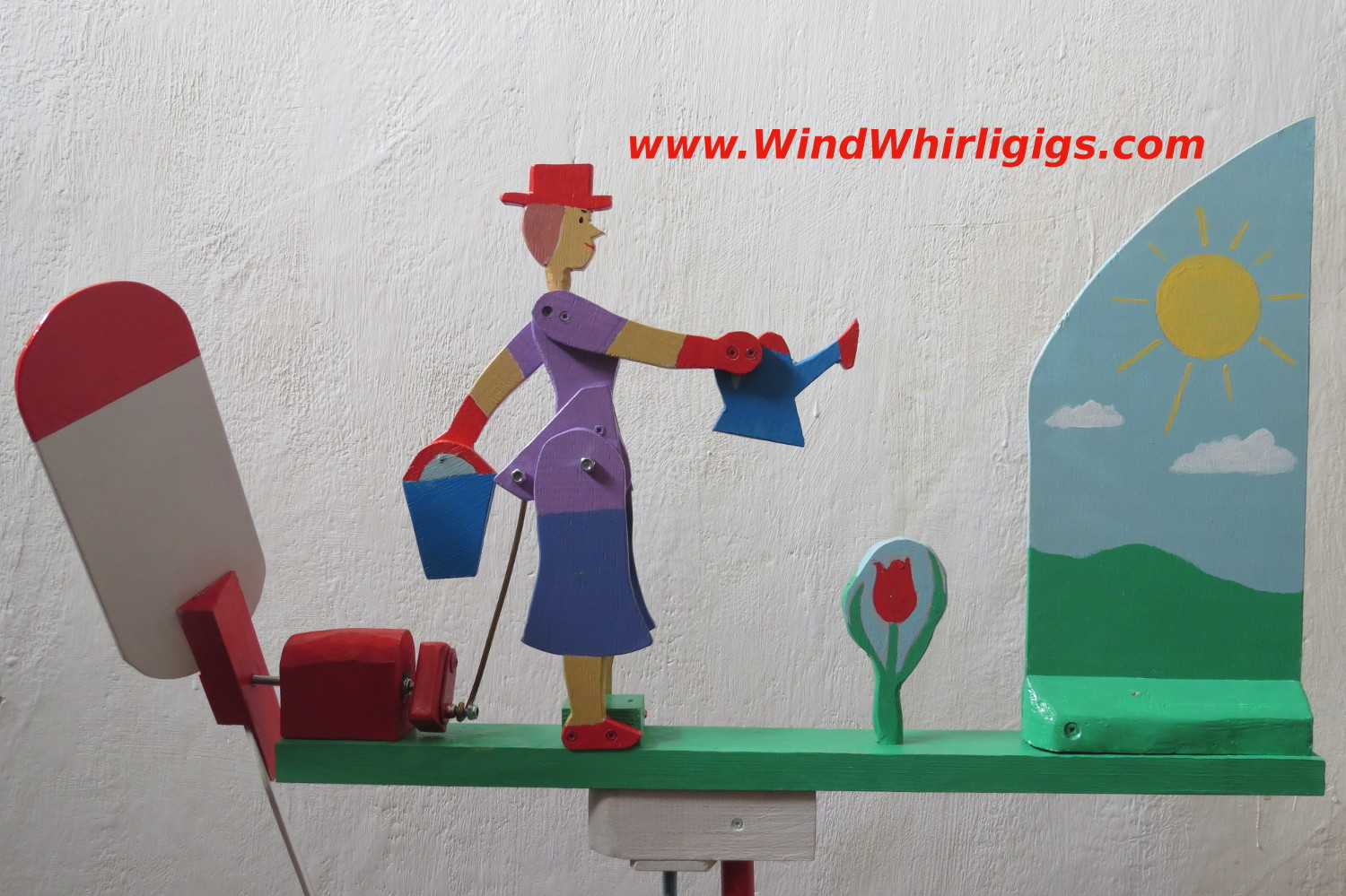 Flower Watering Wind-driven wooden Whirligig - Garden Girl Watering Flowers